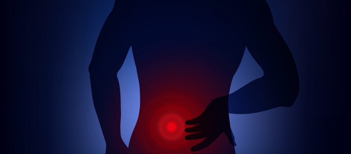 Human having  backache, symptom of lower back pain, lumbago, pressing hand to body. Vector illustration, neon light style, concept for health, medical problems.